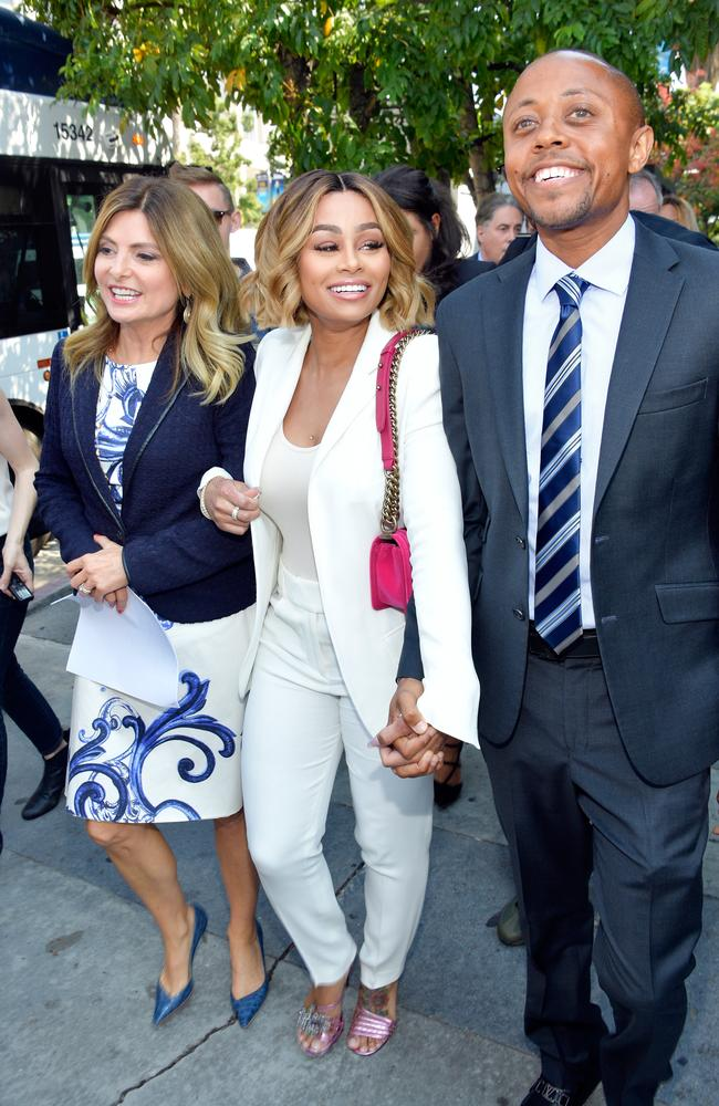 Blac Chyna (centre) with lawyer Lisa Bloom (left) and Walter Mosley outside the Los Angeles Superior Court in California. Picture: Matt Winkelmeyer/Getty Images