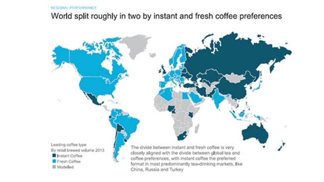 A graphic showing which countries around the world prefer instant or fresh coffee. Photo: Euromonitors.