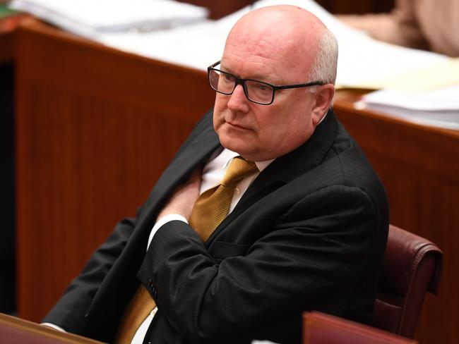 George Brandis was savage in his condemnation of Pauline Hanson. Picture: AAP
