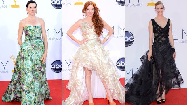 Frilly faux pas: Julianna Margulies, Phoebe Price and January Jones at the 2012 Emmy Awards. Picture: Getty Images