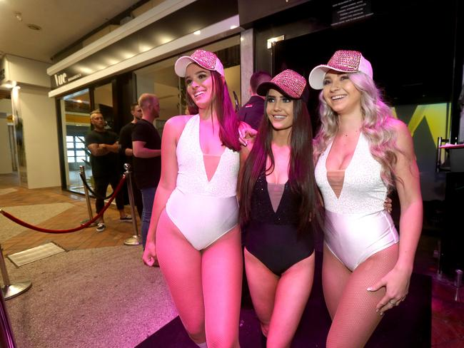Love nightclub promo girls Alisha Caldwell, Kayla Hellestone and India Orrock. Picture: Mike Batterham