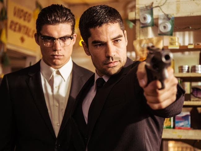 D.J. Cotrona as Seth Gecko and Zane Holtz as Richie Gecko in TV's  <i>From Dusk Till Dawn: The Series</i>.