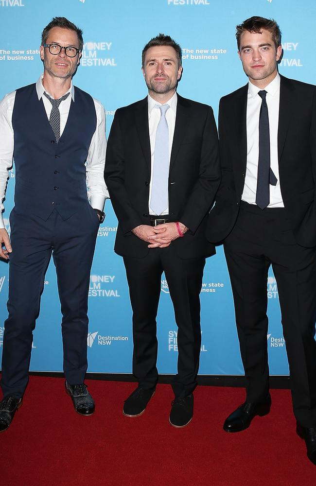 Guy Pearce, David Michod and Robert Pattinson attend the Australian premiere of  <i>The Rover</i>.