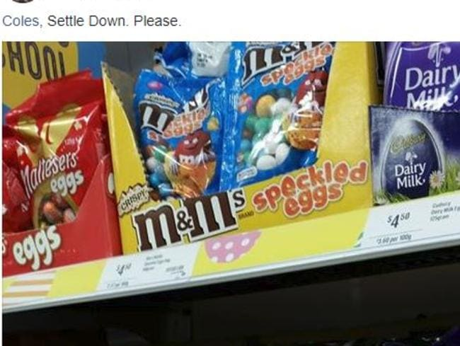 Coles selling Easter Eggs in Perth, WA. Picture: Supplied/Facebook