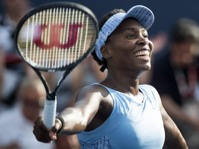 Venus Williams celebrates her victory over Carla Suarez Navarro.