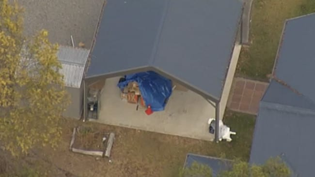 What is believed to be the cache of materials ina shed at the Pullenvale home. Photo: Dave Andrews/ATN