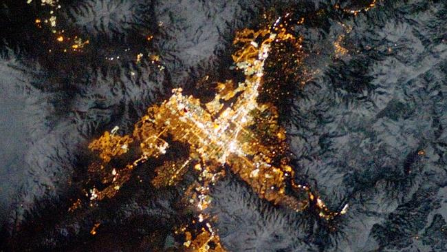 """The lights of Reno, """"the biggest little city in the world,"""" near the California border. Taken on February 1, 2013. Photo: NASA"""