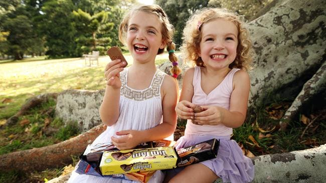 Two happy little Vegemites, err, Tim Tam fans. Picture: Sam Ruttyn.