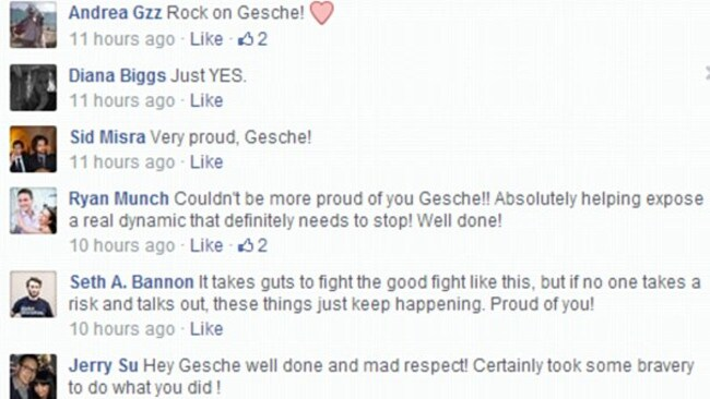 "Outed the shocking behaviour of powerful business people ... Some of the support for Gesche Haas' decision to make the ""sex' advance public. Picture: Gesche Waa-Yi Haas / Facebook"