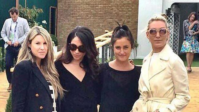 Meghan Markle and Violet von Westenholz (centre) at the tennis last year with Sadie Mantovani and Olivia Buckingham