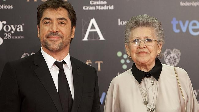 Spanish actor Pilar Bardem and her son, actor Javier Bardem pose on the red carpet before the Goya Film Awards Ceremony in Madrid. (AP Photo/Abraham Caro Marin)