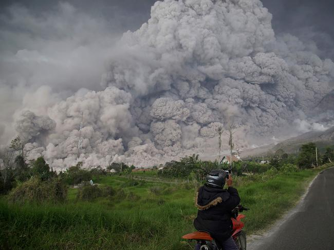 Mount Sinabung volcano as spews thick volcanic ash into the air in Karo, North Sumatra, on February 19, 2018. Picture: AFP