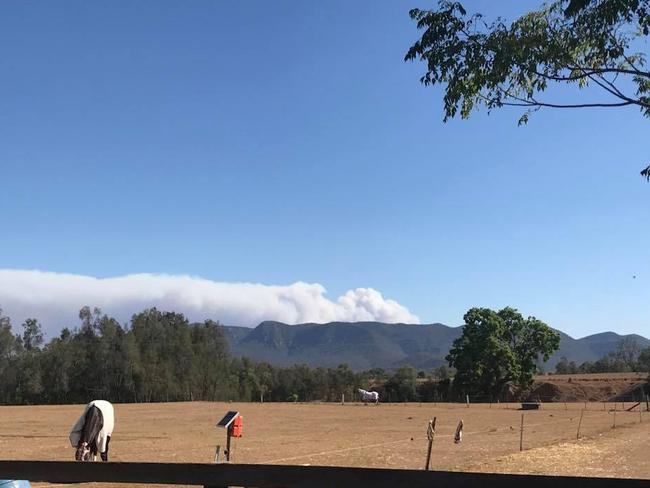 The bank of smoke can be seen to the west from Jerrys Plains, near Singleton. Picture: Facebook