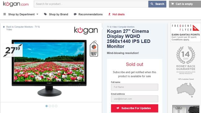ACCC penalties ... Kogan's listing for a 27-inch computer monitor. The company was fined for selling it and two other monitors at a discount only after raising their prices.