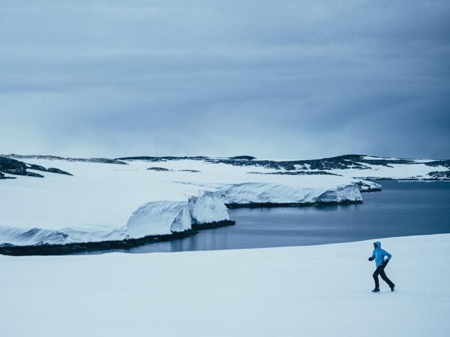 Mina Guli running in Antarctica. Photo: Kelvin Trautman