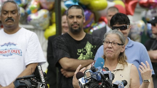 Nancy Ruiz, mother of Gina, speaks to the media after bringing her daughter home.