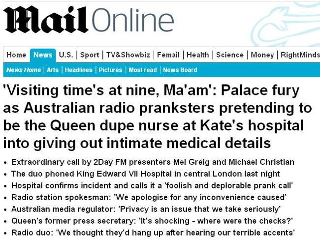 Kate prank call Daily Mail reaction