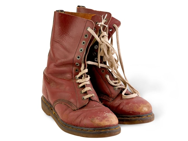 Russell Crowe's Doc Martins worn in Romper Stomper. Photo: The Art of Divorce