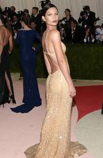 "Lily Aldridge arrives at The Metropolitan Museum of Art Costume Institute Benefit Gala, celebrating the opening of ""Manus x Machina: Fashion in an Age of Technology"" on Monday, May 2, 2016, in New York. Picture: Evan Agostini/Invision/AP"