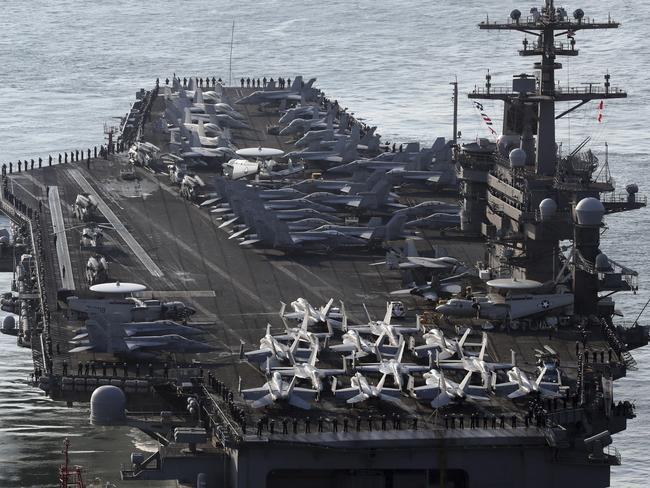US aircraft carriers such as USS Carl Vinson are superior to China's homegrown versions. Picture: AP.