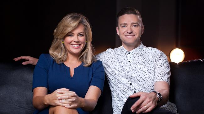 Pre-recording Timberlake ... Sunrise co-host Samantha Armytage with singer Justin Timberlake in an interview shot before the show's US trip. Picture: Supplied