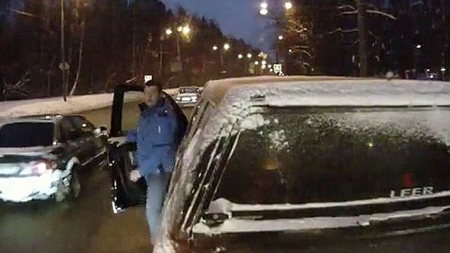 This SUV driver wasnone too pleased when Volkov's bus slammed into him after he cut in front of the bus driver. Picture: Alexei Volkov, via YouTube