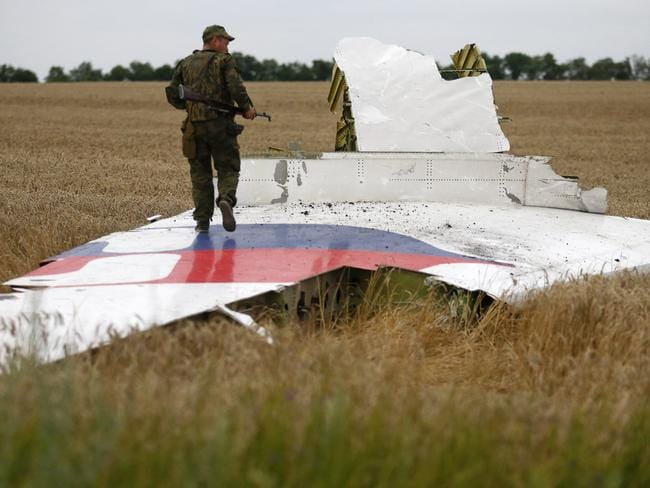 Destroyed ... an armed pro-Russian separatist stands on part of the wreckage of the Malaysia Airlines Boeing 777 plane after it crashed. Picture: Picture Media