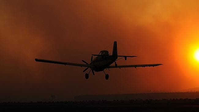 Aerial fire bombing planes at Latrobe airport on Sunday. This picture was submitted by Herald Sun reader Wayne Moon.