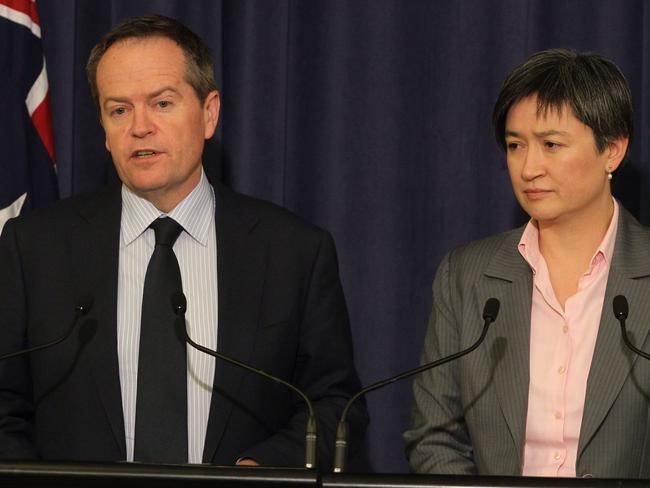 Bill Shorten, and the Leader of the Opposition in the Senate Penny Wong. Photo: Gary Ramage