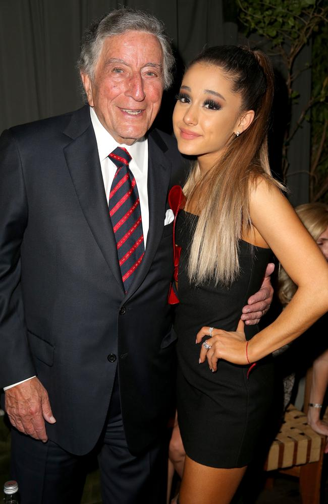 Tony Bennett and Ariana Grande attend the Republic Records Grammy Celebration on February 15, 2016 in Los Angeles. Picture: Getty