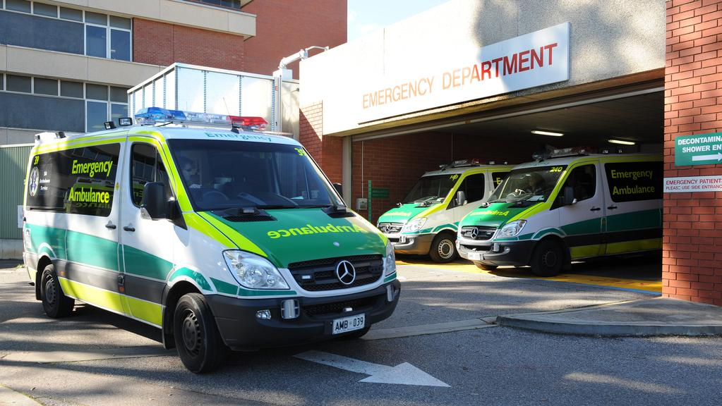 Ambulances at The Queen Elizabeth Hospital emergency department.