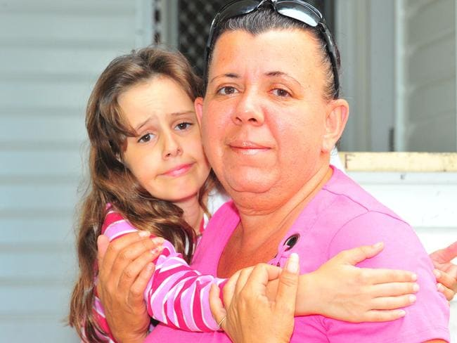 Daphne Hare with her nine-year-old daughter Stella, who has been diagnosed with brain damage from lead poisoning that occurred when they lived in Mount Isa, in 2010.