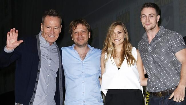 Bryan Cranston, Gareth Edwards, Elizabeth Olsen and Aaron Taylor-Johnson at Comic-Con.