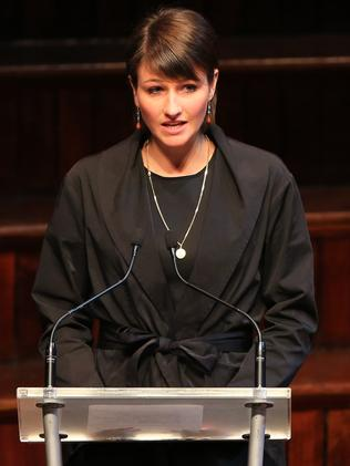 Harriet Wran speaking at the father Neville's funeral. Picture: Adam Taylor