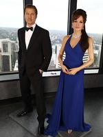 <p>The Madame Tussauds wax figurines of Angelina Jolie and Brad Pitt at Sydney Tower. Picture: Getty Images</p>