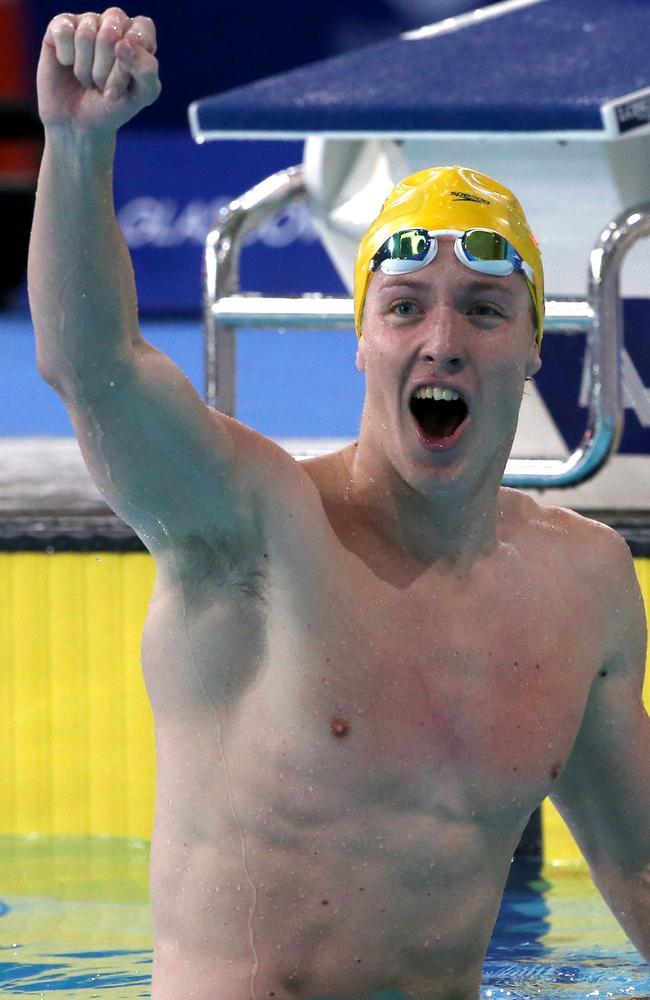 Australia's Daniel Tranter celebrates winning the gold medal in the 200m individual medley.