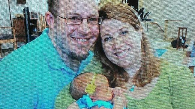 Parents shock... Adam and Heather Schreck and baby Emma. Picture: Facebook