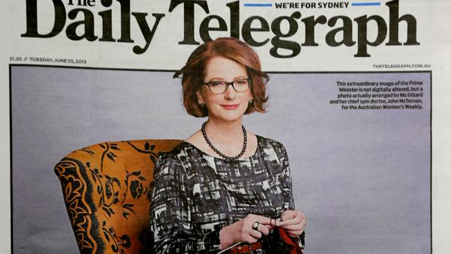Former prime minister Julia Gillard was famously pictured knitting a toy kangaroo for the royal baby. .Picture: The Australian Women's Weekly
