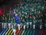 Flag bearer and cyclist Anna Meares of Australia leads the Australian athletes during the Opening Ceremony for the Glasgow 2014 Commonwealth Games at Celtic Park on July 23, 2014 in Glasgow, Scotland. (Photo by Richard Heathcote/Getty Images)