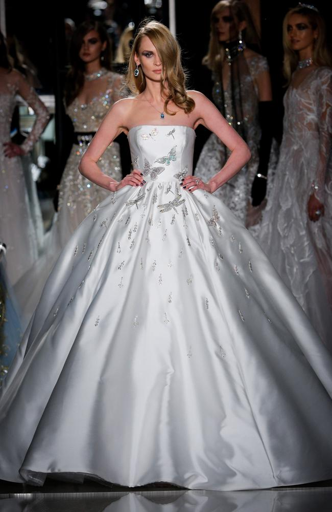 A model walks the runway wearing Reem Acra at Tiffany & Co. Picture: Thomas Concordia/Getty Images