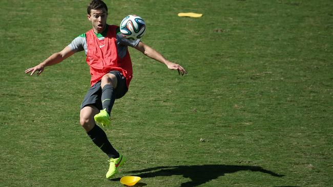 Tommy Oar during a Socceroos training session in Vitoria.