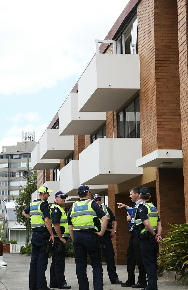 Police at the Middle Park flats. Picture: Hamish Blair