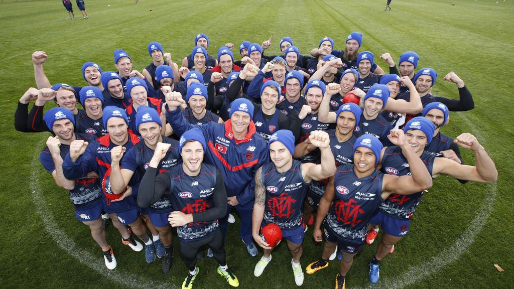 Melbourne football club are making a stand against Motor Nuerone Disease by wearing Big Freeze beanies. Photo David Caird