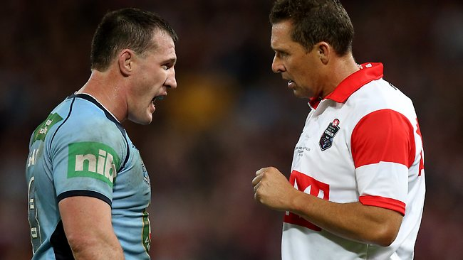 Paul Gallen argues with Shayne Hayne during Origin II. Picture: Mark Evans