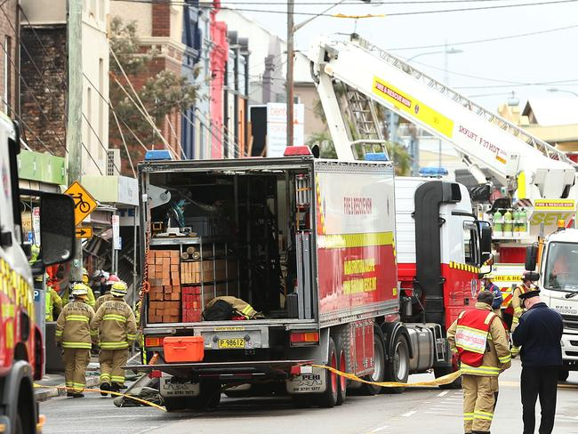The scene of a shop explosion in Darling St, Rozelle, yesterday, Picture: Mark Metcalfe/Getty Images