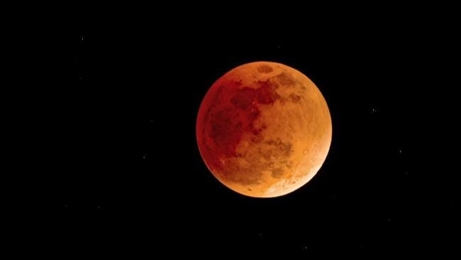 A former blood moon ... amateur astronomer Doug Robertson took this photo from Hahndorf, South Australia, in January 2008.