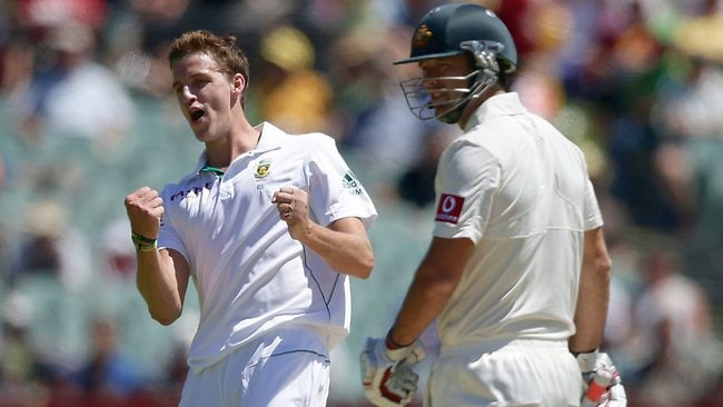 Morne Morkel gets rid of Rob Quiney for a duck to put the brakes on his Test career. Picture: Matt Turner