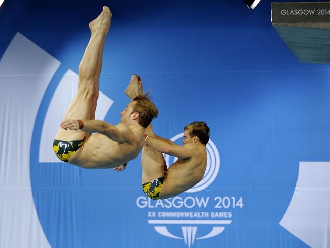 Matthew Mitcham and Grant Nel of Australia compete in the Men's 3m Springboard Final event.