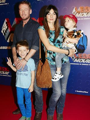 Richard Roxburgh, his wife, Italian actress Silvia Colloca, and children attend the Sydney premiere of  <i>The LEGO Movie</i> in March.