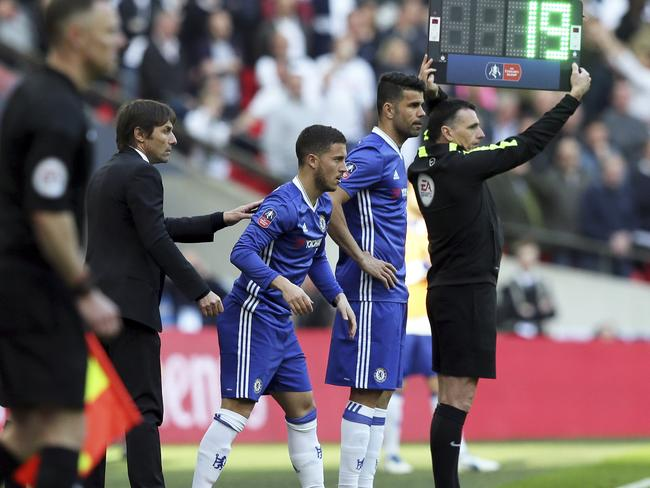 Chelsea's manager Antonio Conte brought on Eden Hazard and Diego Costa in the second half.